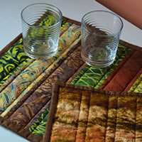 brown and green batik table runner