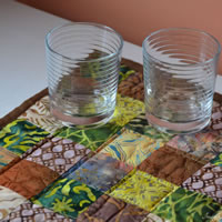 Green and Brown batik square table topper